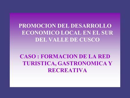 PROMOCION DEL DESARROLLO ECONOMICO LOCAL EN EL SUR DEL VALLE DE CUSCO CASO : FORMACION DE LA RED TURISTICA, GASTRONOMICA Y RECREATIVA.
