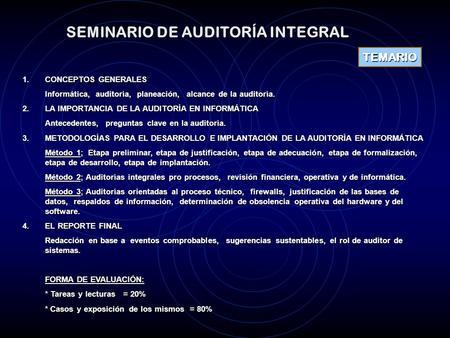 SEMINARIO DE AUDITORÍA INTEGRAL