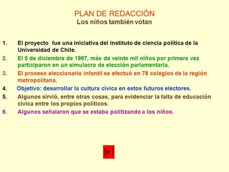 PLAN DE REDACCIÓN Los niños también votan 1.El proyecto fue una iniciativa del Instituto de ciencia política de la Universidad de Chile. 2.El 5 de diciembre.