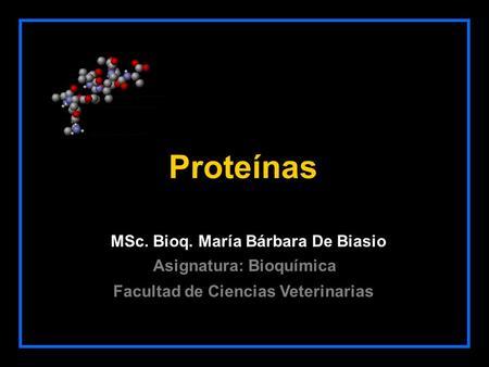 Proteínas MSc. Bioq. María Bárbara De Biasio Facultad de Ciencias Veterinarias Asignatura: Bioquímica.