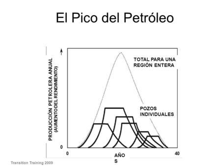 El Pico del Petróleo Transition Training 2009 TOTAL PARA UNA REGIÓN ENTERA AÑO S PRODUCCIÓN PETROLERA ANUAL (AUMENTO DEL RENDIMIENTO) POZOS INDIVIDUALES.