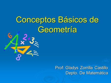 Conceptos Básicos de Geometría Prof: Gladys Zorrilla Castillo Depto. De Matemática.