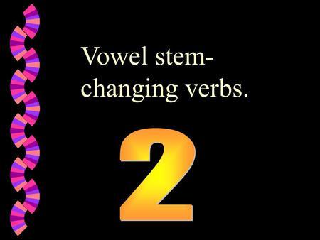 Vowel stem- changing verbs.. dormir Yo _____________ en mi cama. dormir dorm duerm duermo.