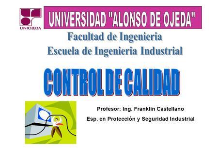 Profesor: Ing. Franklin Castellano Esp. en Protección y Seguridad Industrial.