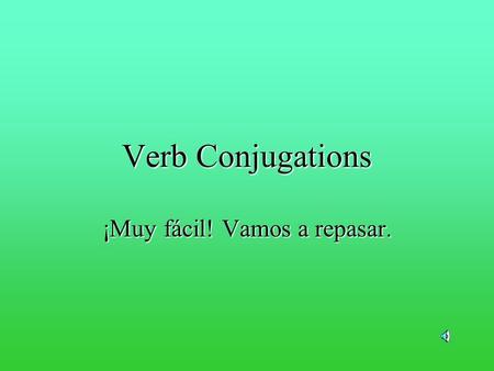 Verb Conjugations ¡Muy fácil! Vamos a repasar. El subjeto/pronombre cambia la forma del verbo I He walk walks …y es lo mismo en español.