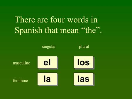 There are four words in Spanish that mean the. singularplural masculine feminine el la los las.