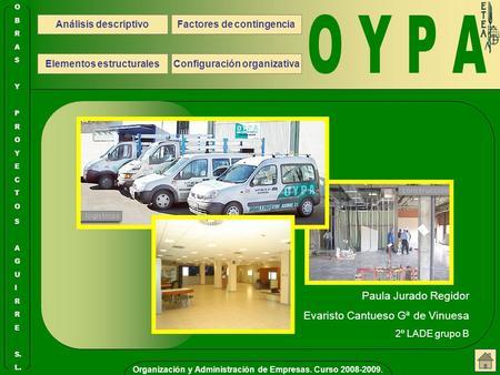 Organización y Administración de Empresas. Curso 2008-2009. S. E R R I L. U G A S O T C E Y O R P Y S A R B O Análisis descriptivo Configuración organizativa.