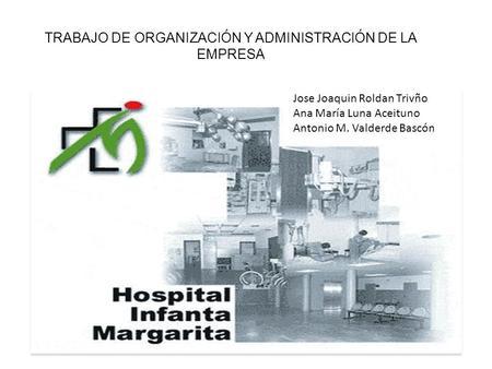TRABAJO DE ORGANIZACIÓN Y ADMINISTRACIÓN DE LA EMPRESA Jose Joaquin Roldan Trivño Ana María Luna Aceituno Antonio M. Valderde Bascón.