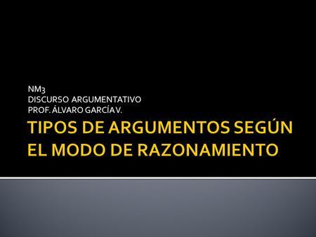 NM3 DISCURSO ARGUMENTATIVO PROF. ÁLVARO GARCÍA V..