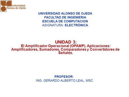 UNIDAD 3: El Amplificador Operacional (OPAMP). Aplicaciones: