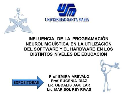 INFLUENCIA DE LA PROGRAMACIÓN NEUROLIMGÜÍSTICA EN LA UTILIZACIÓN DEL SOFTWARE Y EL HARDWARE EN LOS DISTINTOS NIVELES DE EDUCACIÓN EXPOSITORAS Prof. EMIRA.