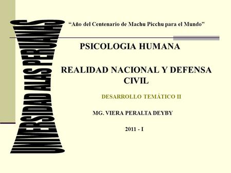 REALIDAD NACIONAL Y DEFENSA CIVIL