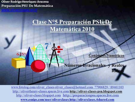 Oliver Rodrigo Henríquez Aracena Preparación PSU De Matemática www.oliverclases.es.tl Clase N°5 Preparación PSU De Matemática 2010 Conjuntos Numéricos.