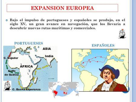 EXPANSION EUROPEA Bajo el impulso de portugueses y españoles se produjo, en el siglo XV, un gran avance en navegación, que los llevaría a descubrir nuevas.