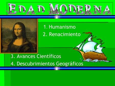 1. Humanismo 2. Renacimiento 3. Avances Científicos 4. Descubrimientos Geográficos.