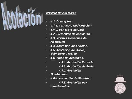 UNIDAD IV: Acotación 4.1. Conceptos 4.1.1. Concepto de Acotación. 4.1.2. Concepto de Cota. 4.2. Elementos de acotación. 4.3. Normas Generales de Acotación.