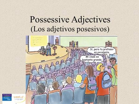 Possessive Adjectives (Los adjetivos posesivos). mi tu su nuestro vuestro su (s) os, (a, as) os,(a,as) (s) These are two-form adjectives, which agree.