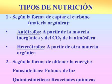 TIPOS DE NUTRICIÓN 1.- Según la forma de captar el carbono (materia orgánica): Autótrofos: A partir de la materia inorgánica y del CO2 de la atmósfera.