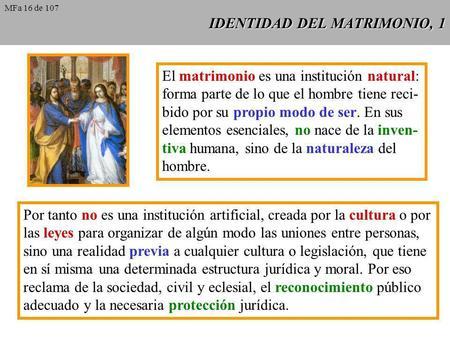 IDENTIDAD DEL MATRIMONIO, 1