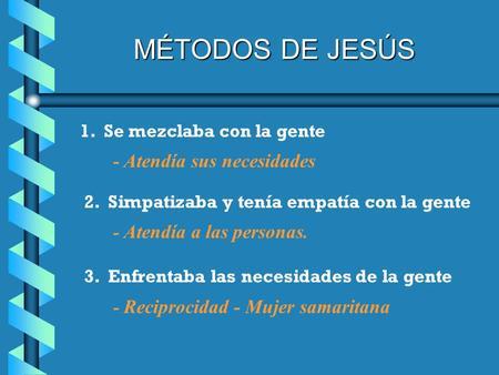 MÉTODOS DE JESÚS 1. Se mezclaba con la gente - Atendía sus necesidades 2. Simpatizaba y tenía empatía con la gente - Atendía a las personas. 3. Enfrentaba.