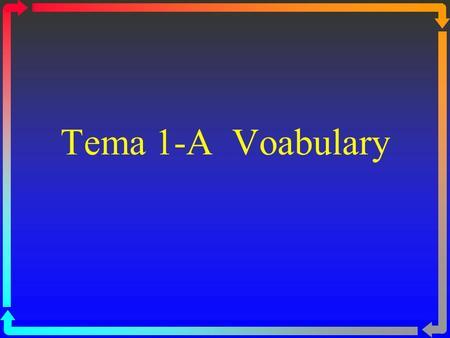 Tema 1-A Voabulary aprender de memoria to memorize.